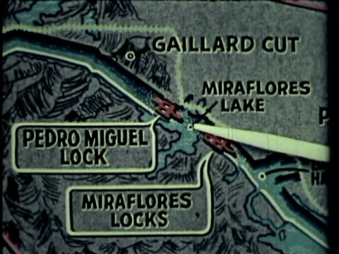 1958 ws pan ha ms cu ship passing through panama canal near canal locks, person pointing at map with pointer, water spraying through hose on  shore, dredging machine working in canal / panama / audio - panama canal stock videos & royalty-free footage