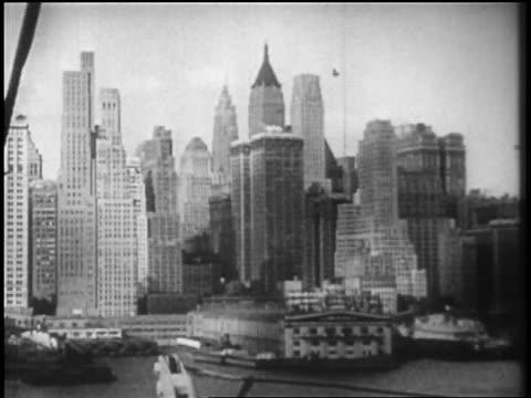 B/W 1928 ship point of view Manhattan skyline / newsreel