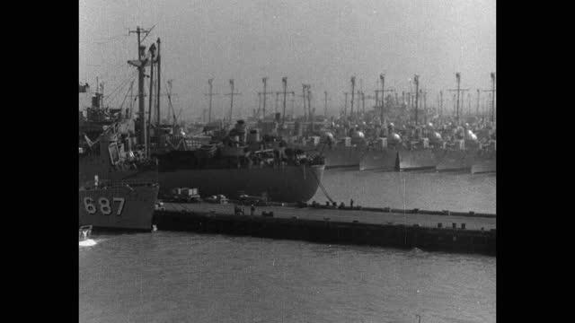 ship point of view of military ships moored at harbor - korean war - 海軍点の映像素材/bロール