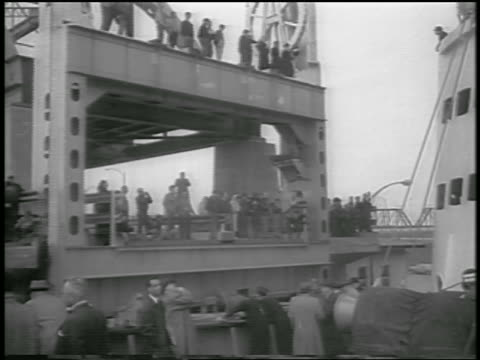 b/w 1959 ship point of view passing canal structure of st lawrence seaway / canada / newsreel - 1959 stock videos & royalty-free footage