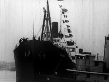 ship pulling away from nyc for admiral byrd's trip to north pole / newsreel - 1926 stock videos & royalty-free footage