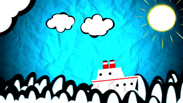 Ship sailing on animated drawing
