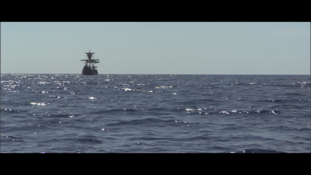 a ship sails on a calm sea. - historical reenactment stock videos & royalty-free footage