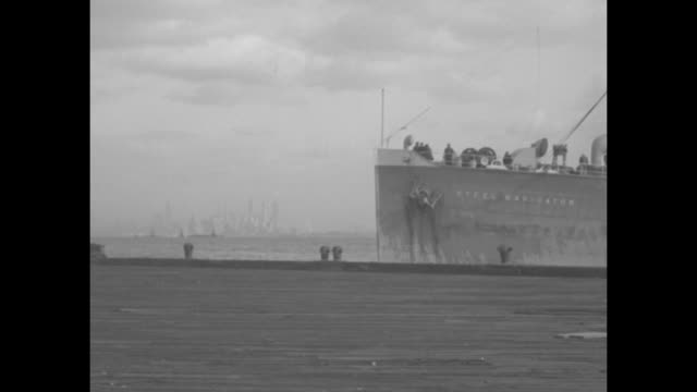 """ship """"steel navigator"""" in new york harbor / ss steel navigator arrives at port on staten island / malaysian guide / crane lifts crate holding tapir... - hd format stock videos & royalty-free footage"""