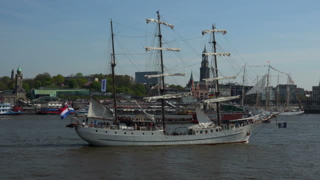 ship traffic at Port Anniversary, St. Pauli Landing Stages, Hamburg, Germany