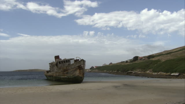 stockvideo's en b-roll-footage met ms, ship wreck on beach, new island, falkland islands - atlantische eilanden