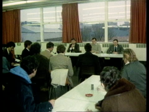 shipbuilding unions prepare to accept new owrking practices scotland lower clydeside int ms scott lithgow union representatives at meeting ms meeting... - trade union stock videos & royalty-free footage