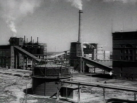 ship-building yard factory workers in construction site of a new built city audio / bulgaria - anno 1952 video stock e b–roll