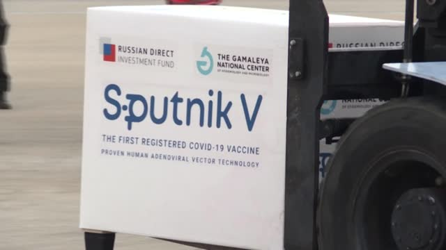 shipment of 240,000 doses of the sputnik v vaccine against covid-19 000 of them destined for bolivia, arrives in argentina from russia, the third... - russia stock videos & royalty-free footage