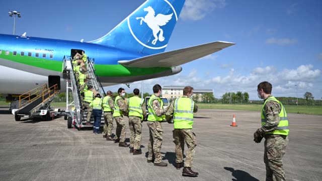 shipment of ppe from hangzhou, china, is unloaded from a plane at cardiff airport on may 1, 2020 in rhoose, wales. the plane is understood to contain... - freight transportation stock videos & royalty-free footage