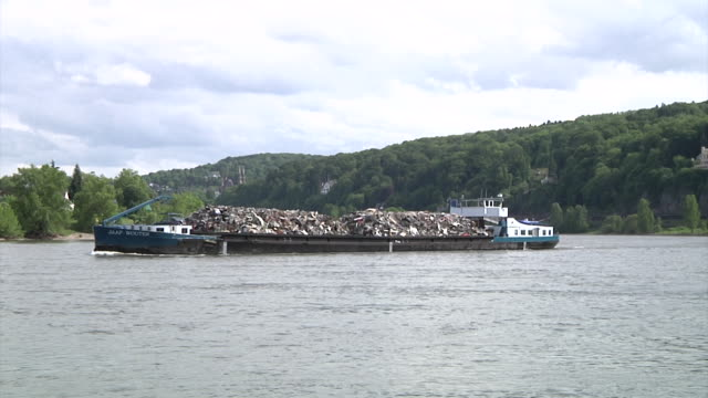 shipping at the river rhine - barge stock videos & royalty-free footage