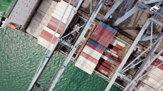 vídeos de stock, filmes e b-roll de recipiente de transporte descarga - porto comercial