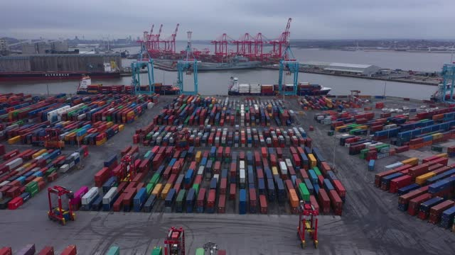 shipping containers are stacked on the dockside at the port of liverpool on december 10 in liverpool, united kingdom. carriers are reporting a severe... - freight transportation stock videos & royalty-free footage