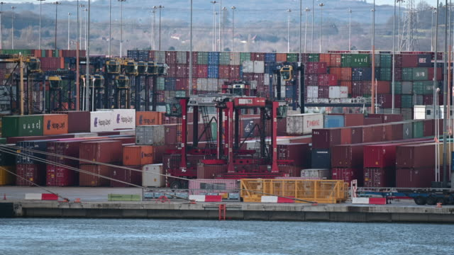 shipping containers at the port of southampton on february 10 2019 in southampton england the port of southampton is a passenger and cargo port in... - southampton england stock videos and b-roll footage