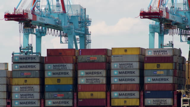 shipping containers being moved and rearranged - docks stock videos & royalty-free footage