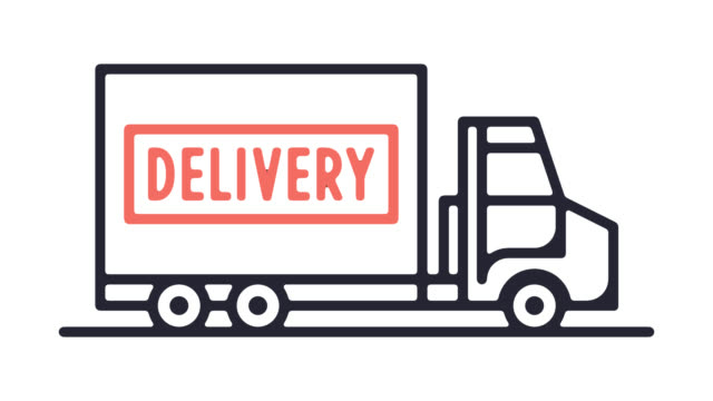 shipping & delivery line icon animation with alpha - efficiency stock videos & royalty-free footage