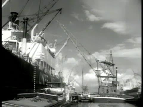 shipping dock cranes carrying loads. bags of food being lowered. ship moored in dock. dutch dock workers crane lowering cargo. - ta ner bildbanksvideor och videomaterial från bakom kulisserna
