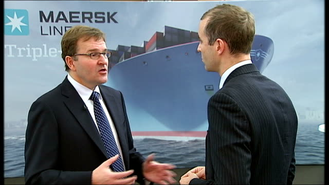 Maersk signs deal for supersize ships INT Eivind Kolding interview SOT don't see it as a gamble / expect sound growth Tilbury Docks EXT High Angle...