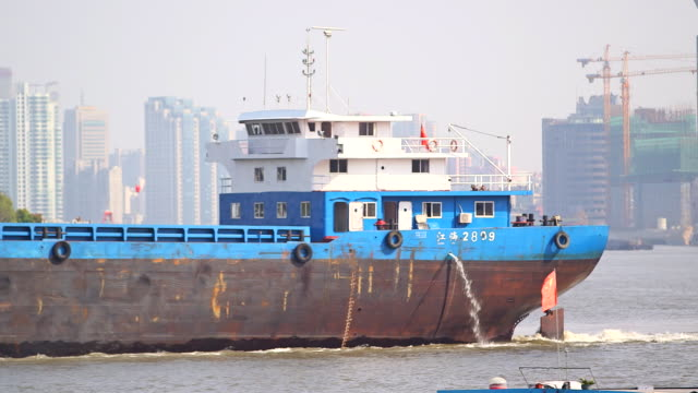 shipping tanker on huangpu river - shanghai, china - river huangpu stock videos & royalty-free footage