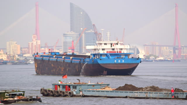 shipping tankers and boats on huangpu river - shanghai, china - river huangpu stock videos & royalty-free footage