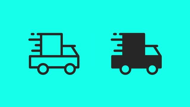 shipping van icons - vector animate - van vehicle stock videos & royalty-free footage