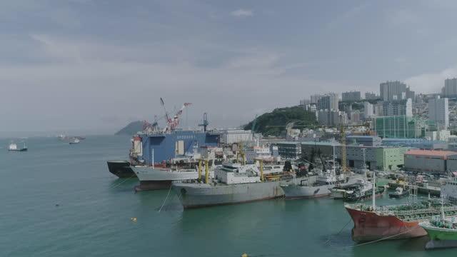 ships anchored at port / busan, south korea - anchored stock videos & royalty-free footage