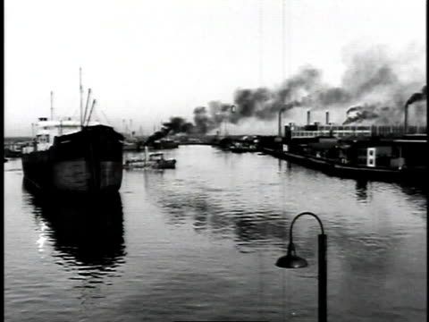 1929 montage ships and tanker in busy city harbor / united states - 1929 stock videos and b-roll footage