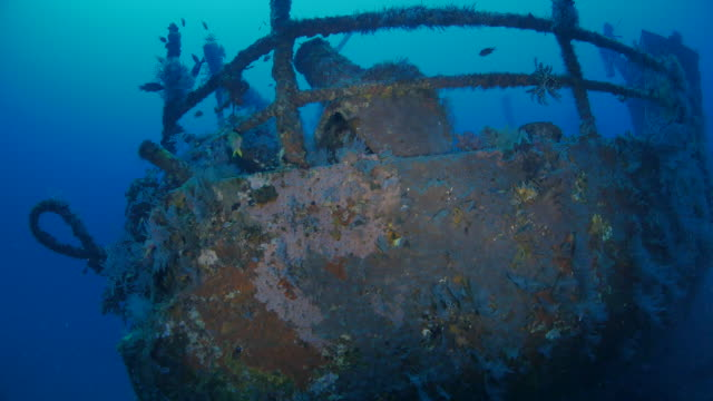 ship's bow of boga shipwreck, indonesia (4k) - shipwreck stock videos & royalty-free footage