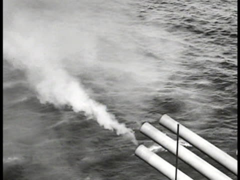 ships, destroyer & battleship cannons firing. world war ii, wwii. - artillery stock videos & royalty-free footage