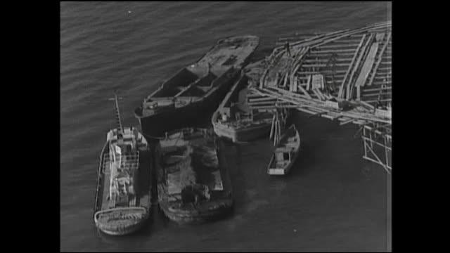 Ships float in Tokyo Bay in postwar Japan.