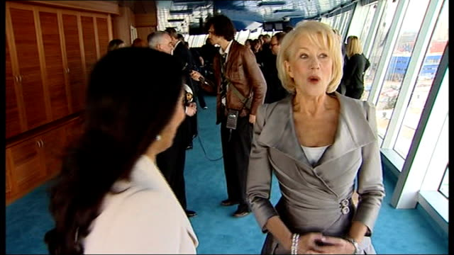 Helen Mirren unveils cruise ship Ventura ENGLAND Hampshire Southampton PHOTOGRAPHY*** Actress Helen Mirren sitting on bridge for photocall Helen...
