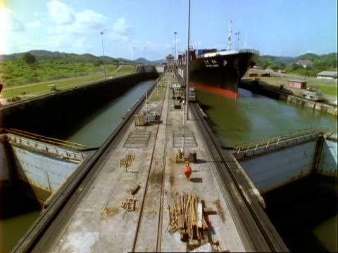 ships in panama canal lock, time lapse, ms, panama. - panama canal stock videos & royalty-free footage