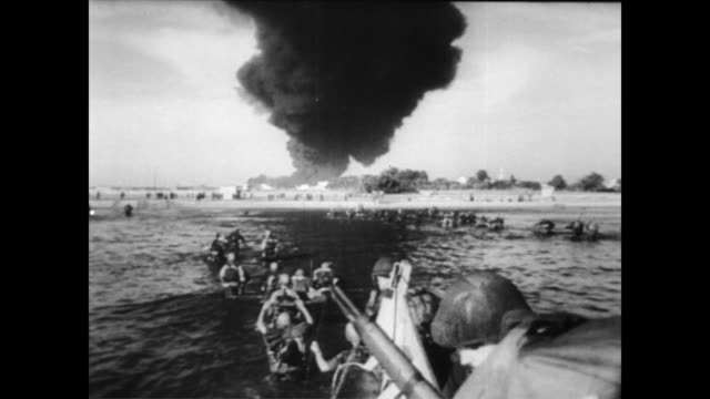 stockvideo's en b-roll-footage met / ships in the suez canal / president abdul nasser of egypt announcing seizure of canal by egypt / israeli troops walking to sinai peninsula / dead... - 1956