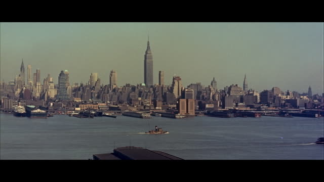 ws ships moving in river hudson with skylines in background / midtown manhattan, new york city, new york state, united states - 1960 stock videos & royalty-free footage