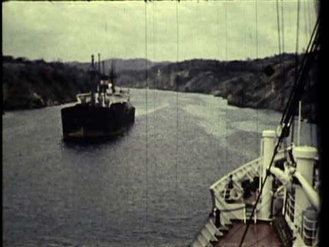 1958 WS Ships passing through Panama Canal, people walking steps to administration building / Panama / AUDIO