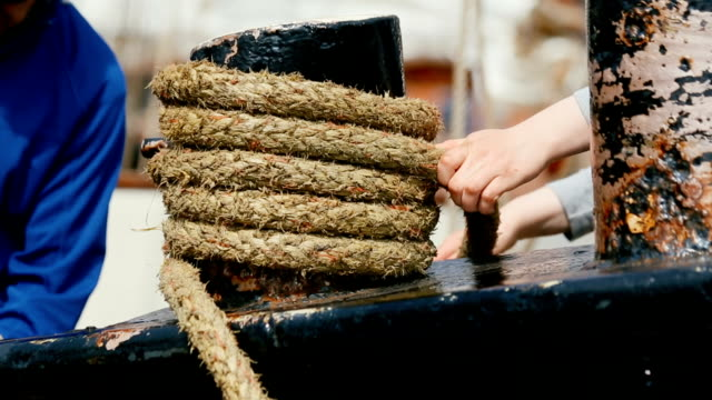 Ship's rope on boat deck