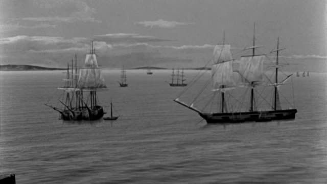 ships sail in a harbor in the early 1800s. - 19th century stock videos & royalty-free footage