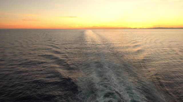 WS Ship's wake at sunset