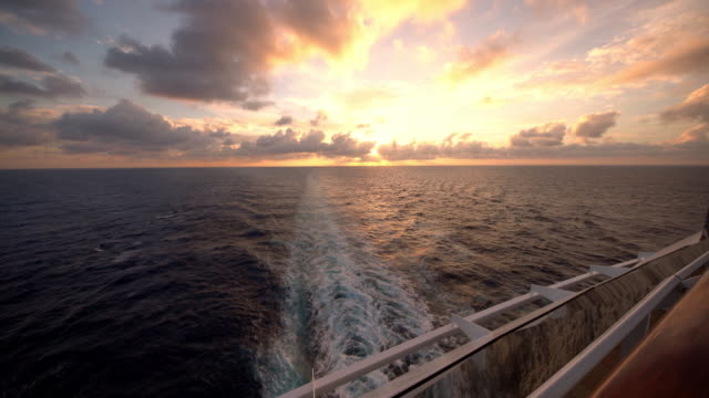 ws ship's wake at sunset - cruise stock videos and b-roll footage