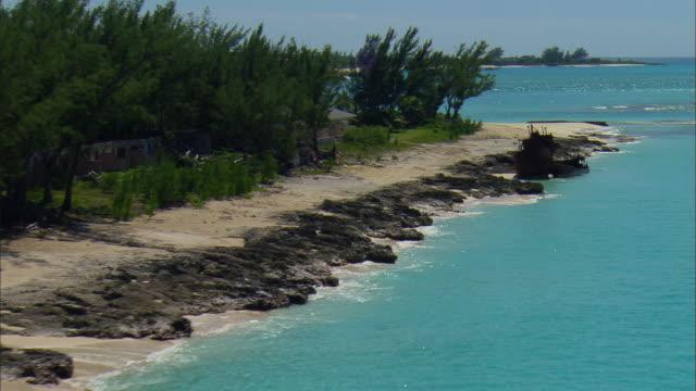 LOW AERIAL Shipwreck on Bimini island, Bahamas