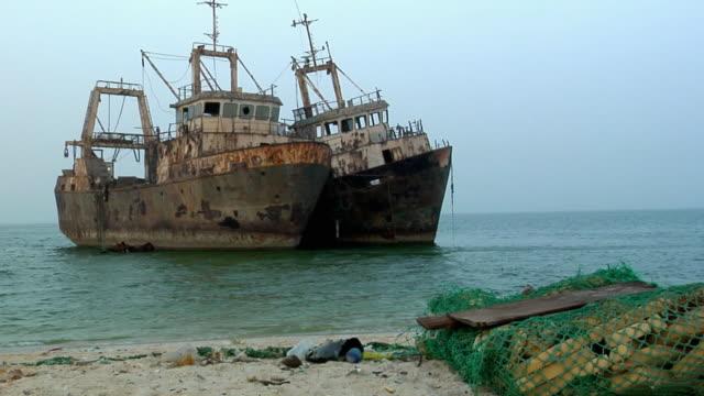 ws, shipwrecks in shallow, nouadhibou, mauritania - mauritania stock videos & royalty-free footage