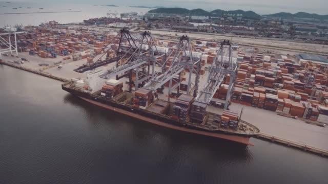 shipyard aerial - unloading stock videos & royalty-free footage