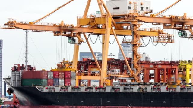 Cantiere con gru di lavoro time lapse commerciale contenitore merci