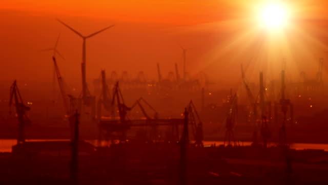 shipyard in hamburg at sunset - blurred - shipyard stock videos & royalty-free footage