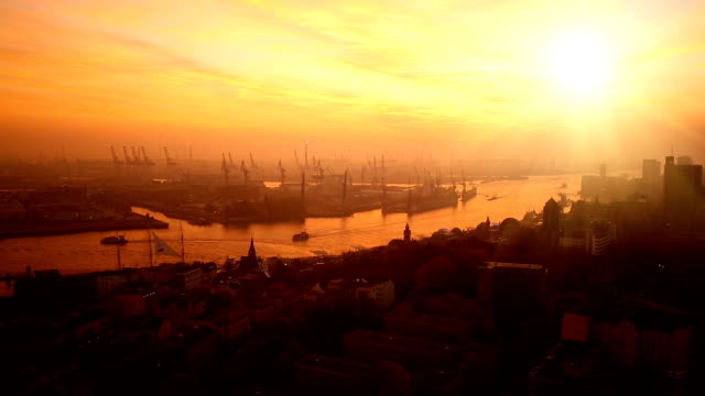 shipyard in hamburg at sunset - romantic sky stock videos & royalty-free footage