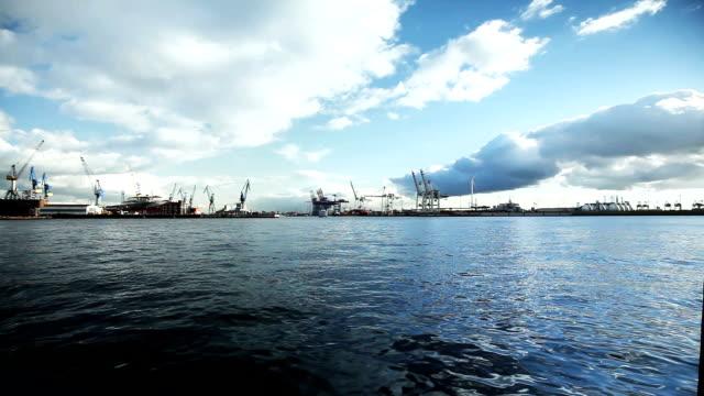 shipyard in hamburg - fast motion stock videos & royalty-free footage