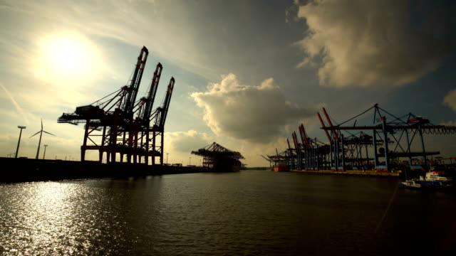 stockvideo's en b-roll-footage met scheepswerf in hamburg met zon - haven