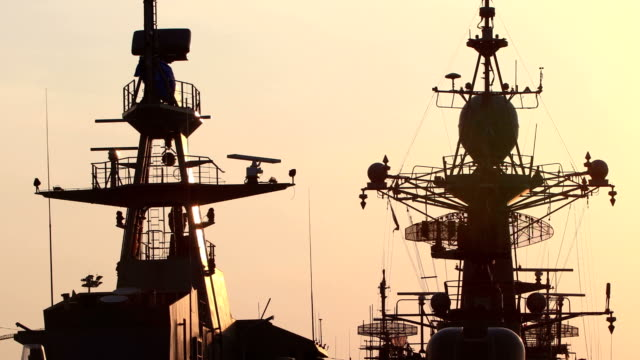 Shipyard in sunset