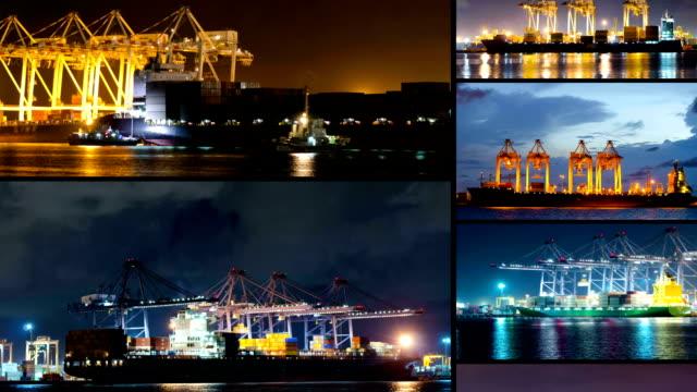 vidéos et rushes de conteneur de chargement de fret chantier naval de travail de nuit - récipient