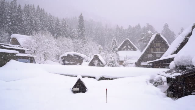 shirakawa go world heritage village in snow winter - shack stock videos and b-roll footage